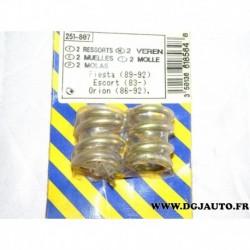 Blister 2 ressorts fixation tuyau echappement 251807 pour ford fiesta 3 orion escort 3 4 5 6 7