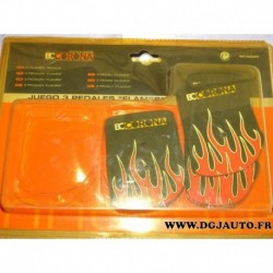 Kit 3 couvres pedales flames INT30595 adaptable universel