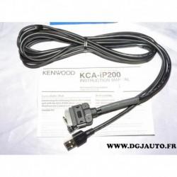 Cable branchement connecteur USB equipement kenwood KCA-IP200 pour ipod