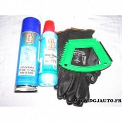 Kit hiver 1 aerosol degivrant + 1 flacon concentré liquide lave glace antigel -70°C + grattoir + paire gants
