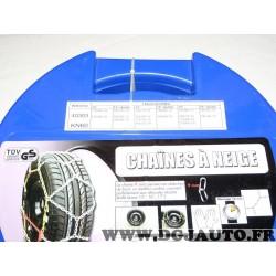 Paire chaines neige 40303 KN60 pour pneu roue jante 170/80/13 175/80/13 185/70/13 195/65/13 205/60/13 165/75/14 165/80/14 175/70