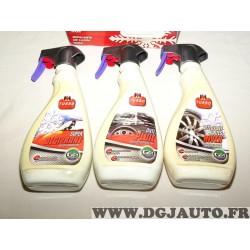 Kit 3 flacons spray 500ML nettoyant jantes hiver + 500ML super degivrant + 500ML anti pluie Pack hiver M6 Turbo GS27