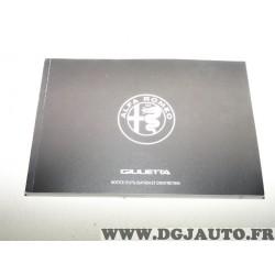 Notice utilisation et entretien documentation livret 60438861 pour alfa romeo giulietta partir de 2016