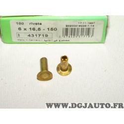 Boite de 100 rivets 6x16.5-150 fixation machoires de frein valeo 431719
