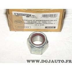 1 Ecrou hexagonal auto-freiné à bague nylon CL10 M22x2.50 DIN 982 zingues sans chrome restagraf 40430