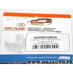 Lot 9 tubes contact buse nez embout torches de soudage MIG MAG Binzel MB36 8x30 0.8 CU W000010834