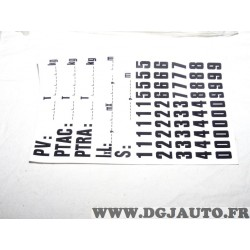 1 Sticker plaquette element chiffres et PV PTAC PTRA 145x120mm autocollant pour indication charge tout véhicule PTAC 501