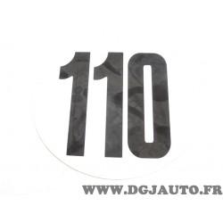 Autocollant rond information limitation vitesse 110 110KM/H FSER tracteur poids lourd engin agricole bus