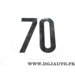 Plaque plastique PVC ronde information limitation vitesse 70 70KM/H FSER tracteur poids lourd engin agricole bus