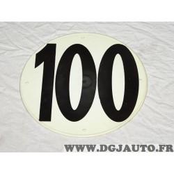 Plaque plastique PVC percée ronde information limitation vitesse 100 100KM/H FSER tracteur poids lourd engin agricole bus