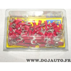 Boite de 100 cosses fourche connecteur electrique branchement faisceau cable 0.5-1mm² universel A123 8KW744779-003 pour véhicule