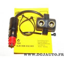 Cable prise allume cigare double sortie adaptable universel 8JB008032-001 pour auto poids lourd tracteur engin agricole chantier