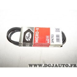 1 Courroie accessoire 3PK753 pour dacia logan sandero land rover freelander MG ZR nissan kubistar renault kangoo clio 2 II rover