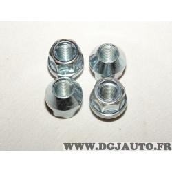 Lot 4 ecrous de roue conique M12X1.25 SW19 fixation jante Norauto 320372
