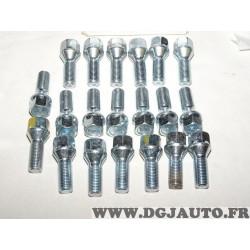 Lot 20 boulons de roue fixation jante M14x1.5 SW19 Norauto 320363