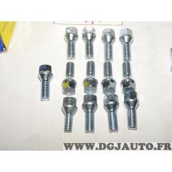 Lot 13 boulons de roue fixation jante M14x1.5 SW19 Norauto 320363
