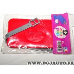Porte étiquette étui adresse nom rouge bagage valise avion Color pop 3700536107309