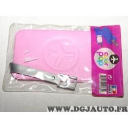 Porte étiquette étui adresse nom rose bagage valise avion Color pop 3700536107309