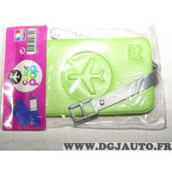 Porte étiquette étui adresse nom vert bagage valise avion Color pop 3700536107309
