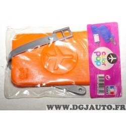 Porte étiquette étui adresse nom orange bagage valise avion Color pop 3700536107309