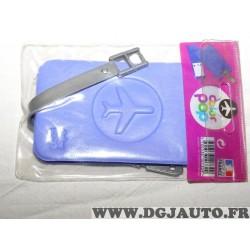 Porte étiquette étui adresse nom violet clair bagage valise avion Color pop 3700536107309
