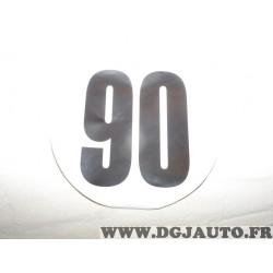 Autocollant rond 200mm information limitation vitesse 90 90KM/H tracteur poids lourd engin agricole bus Mastac 102504