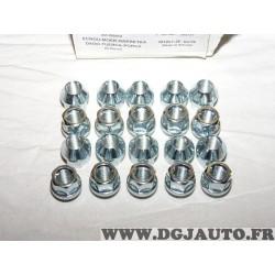 Lot 20 ecrous de roue conique M12x1.25 SW19 fixation jante Norauto 320372