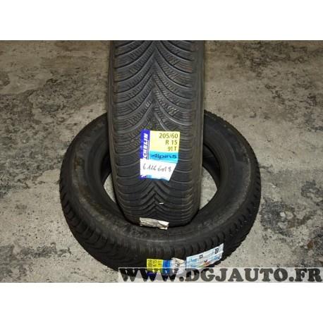 Lot 2 pneus neuf Michelin alpin 5 hiver 205/60/15 205 60 15 91T DOT2914 DOT3714