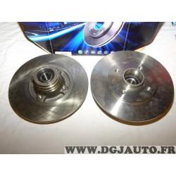 Paire disques de frein arriere plein 238mm diametre avec roulement de roue Requal RDP212 pour renault clio 1